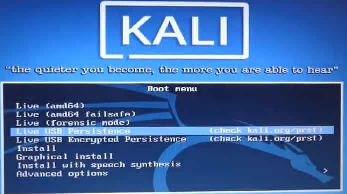 Boot Kali Linux from USB