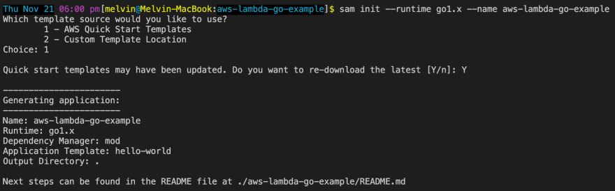 Deploying a Go Function in AWS Lambda using AWS SAM(AWS Serverless Application Model)