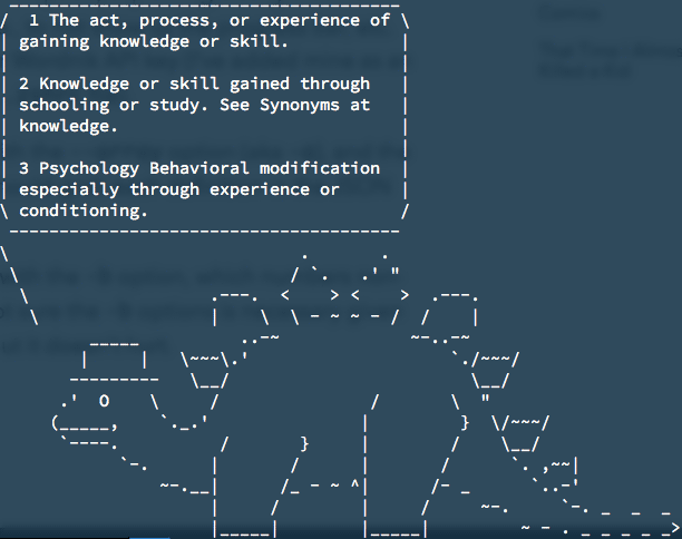 An screenshot of a terminal window showing ASCII art of a stegosaurus speaking three definitions of the word learning.