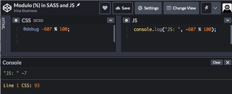 Code playground shows different output for the same modulo calculation in JS and SASS