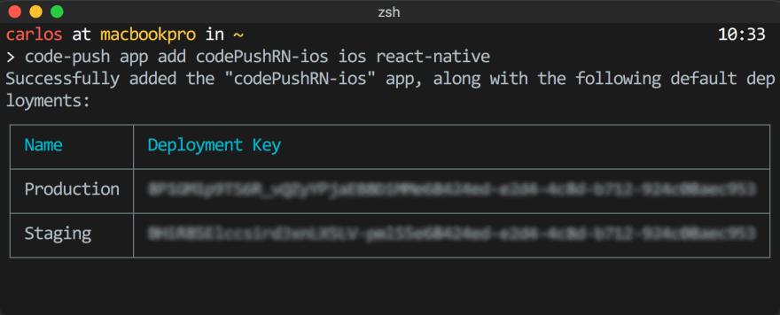 CodePush add app deployment keys