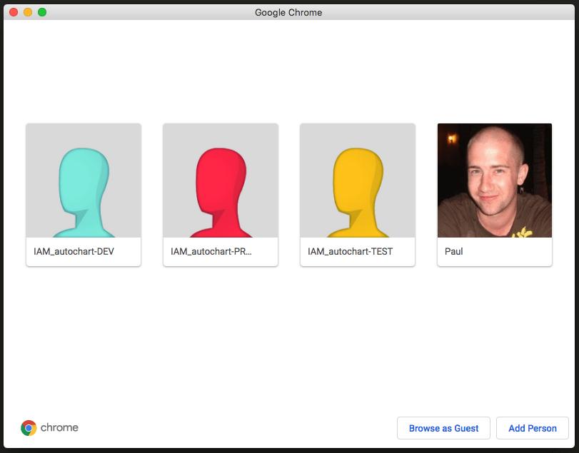 Chrome Manage People dialog