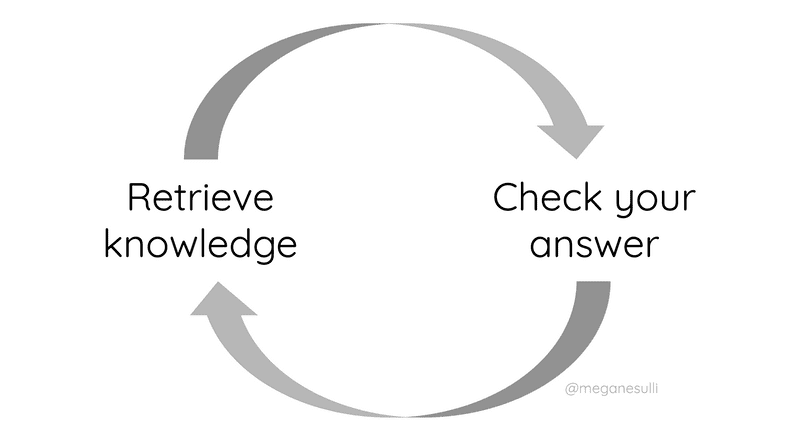 """A cycle with arrows connecting two labels in an infinite loop: """"retrieve knowledge"""" and """"check your answer"""""""
