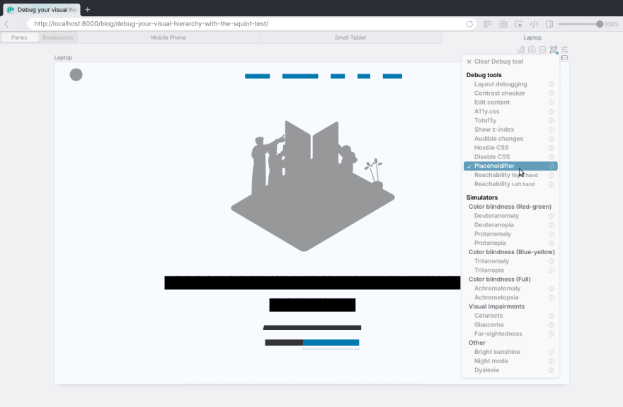 Placeholdifier debug tool in Polypane
