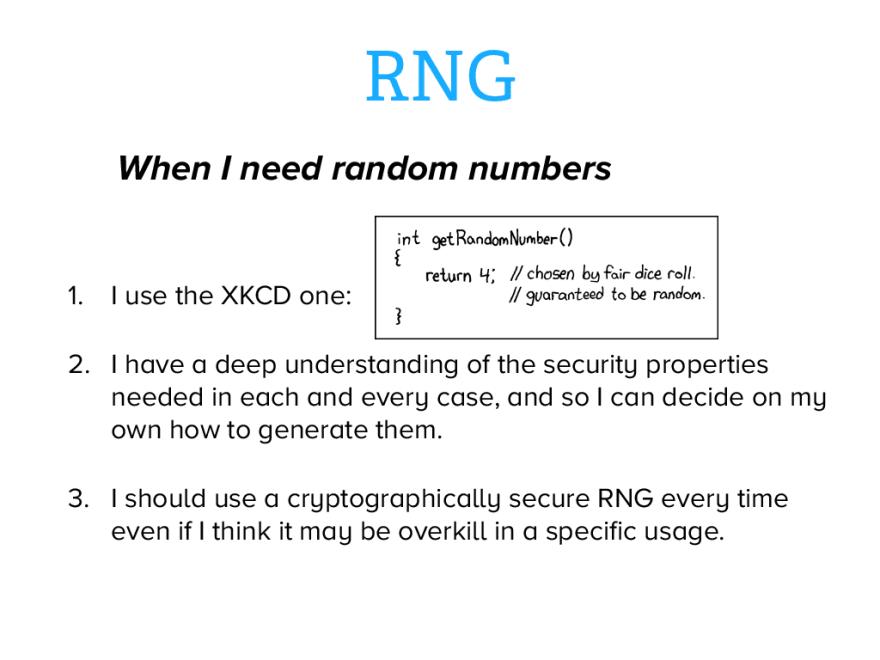 RNG choice
