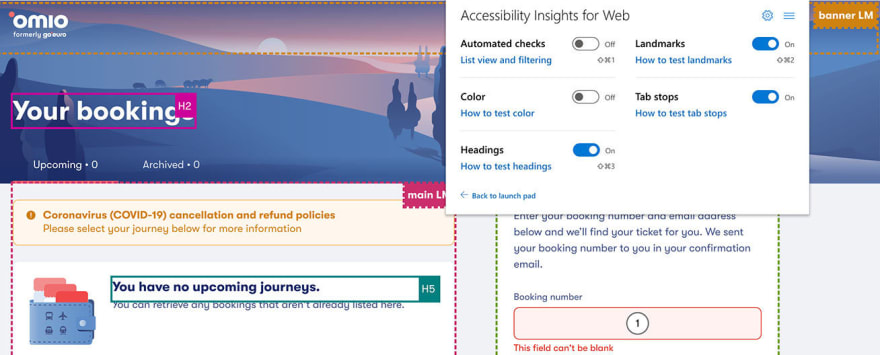 Accessibility Insights highlights highlight headings, landmark regions, and tab stops on a page