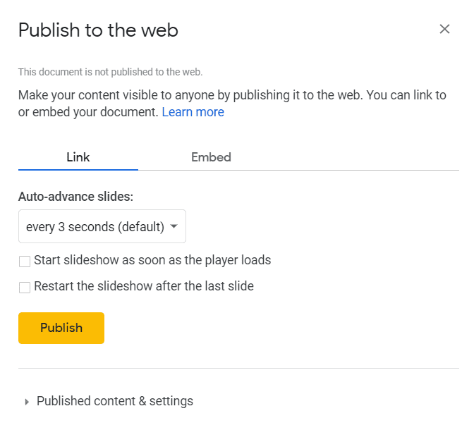 Publish to the web dialog box