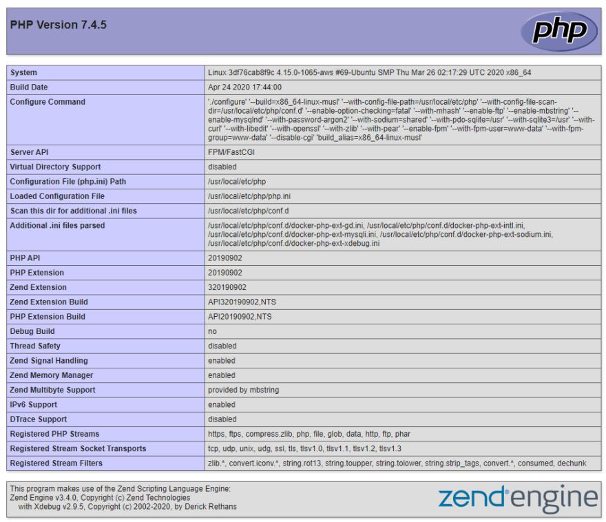 php version 7.4.5