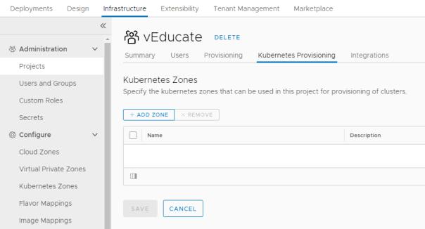 Projects - Add Kubernetes Zone