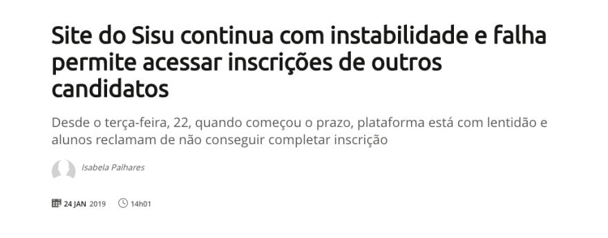 Falha de segurança no sistema do SISU, Sistema de Seleção Unificiado do INEP, permitiu que usuários alteressem dados de outros usuários
