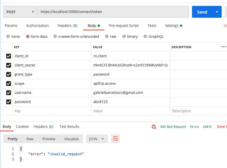 postman failed request to identity server 4 connect token
