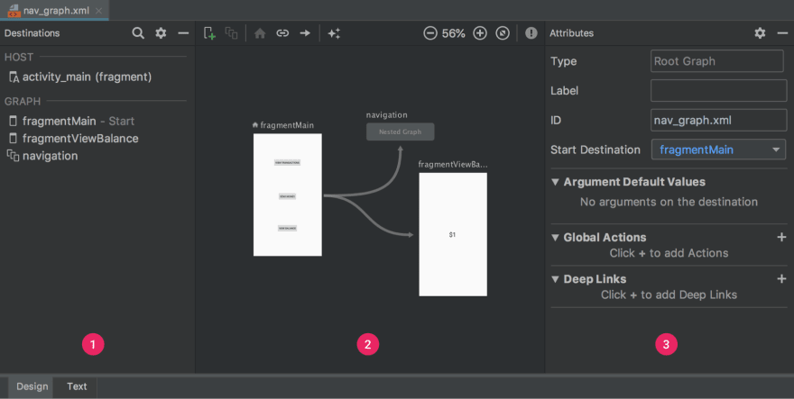 Android Studio navigation editor