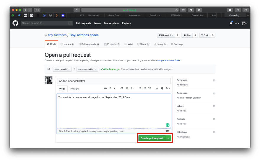 Making Github pull request