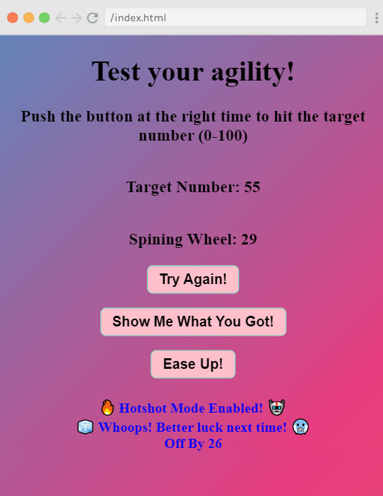 Test Your Agility Game