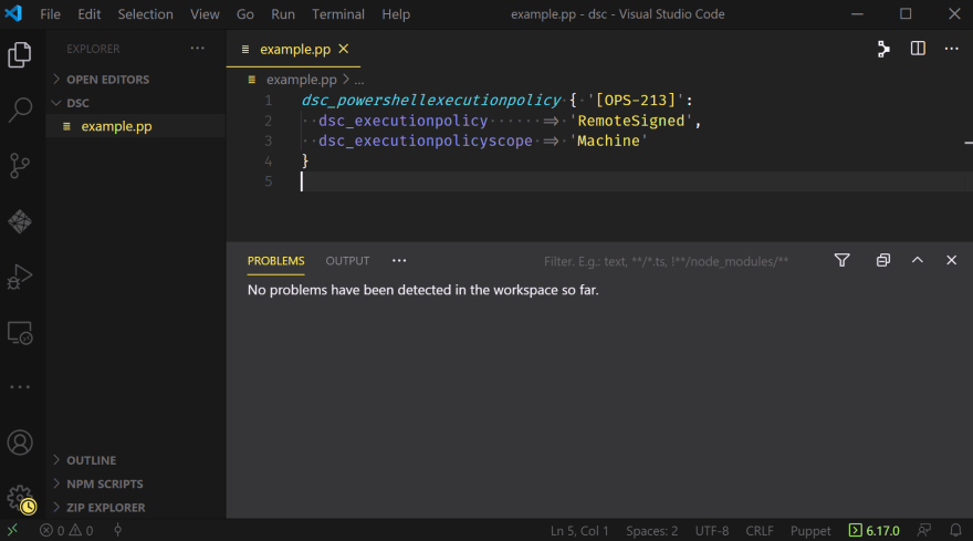 A VSCode window displaying the manifest with no issues or warnings, the hash rocket moved appropriately to ensure preferred formatting for the manifest.