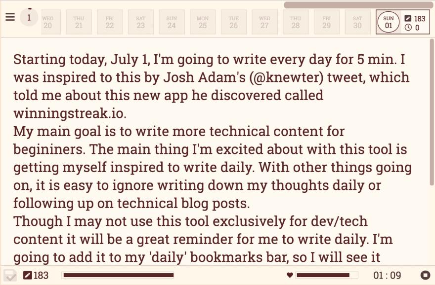 Inside the writingstreak.io app
