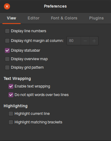 text editor preferences