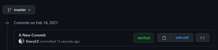 A Commit with Verified badge