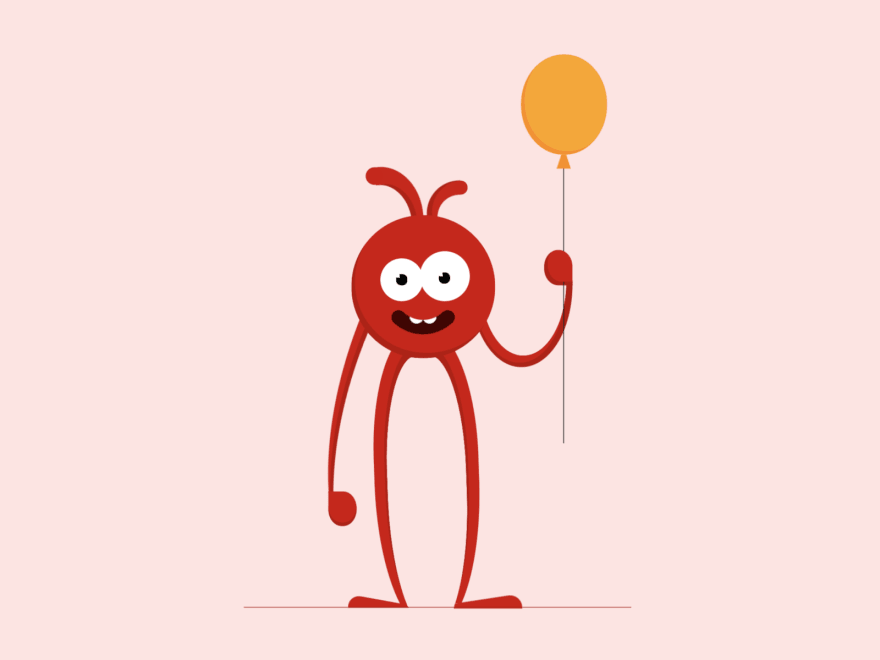 Red monster holding a balloon