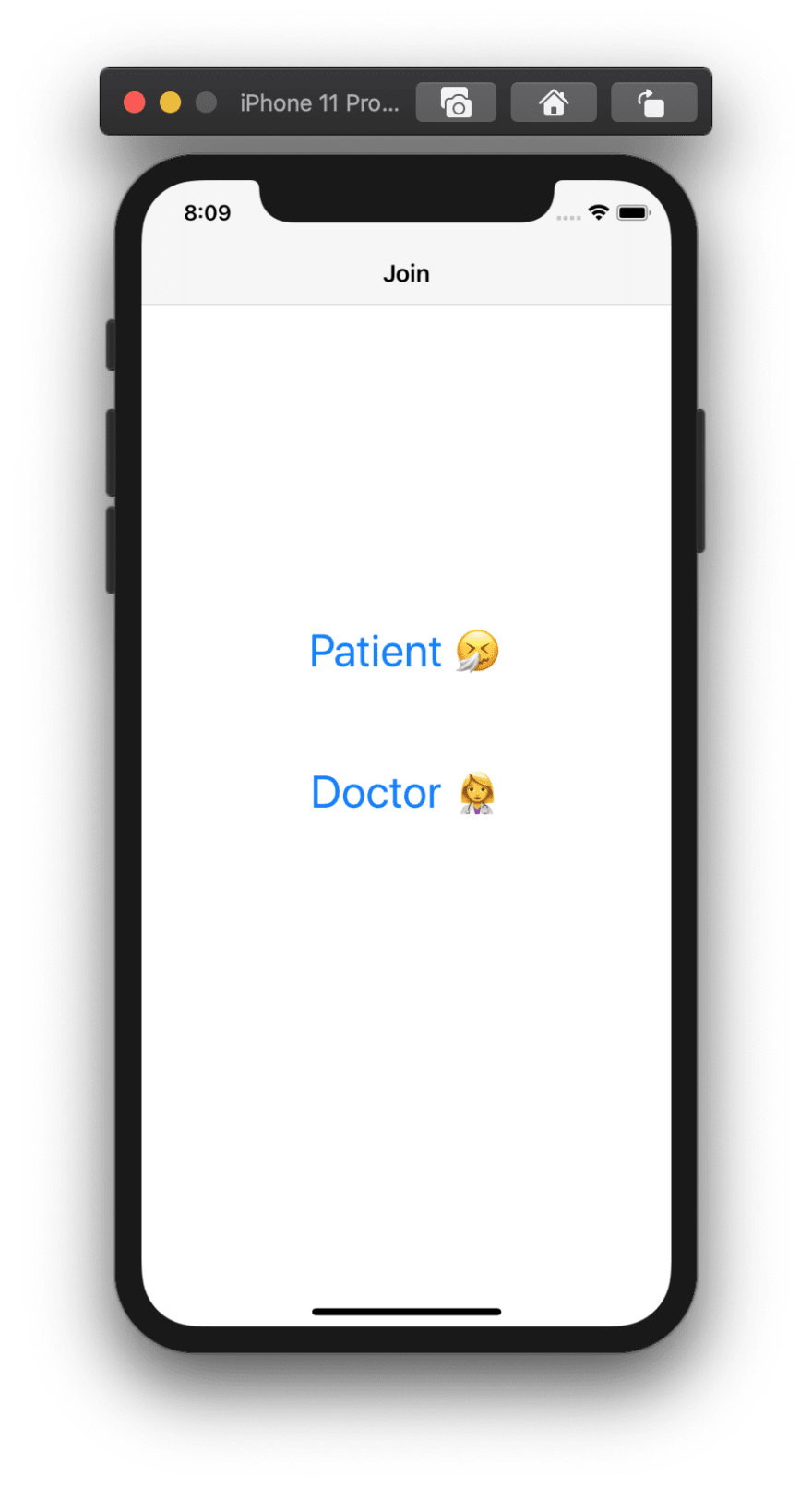 Screenshot shows an app with two buttons, one to join as the patient, and the other to join as the doctor