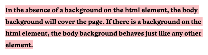 In the absence of a background on the html element, the body background will cover the page. If there is a background on the html element, the body background behaves just like any other element.