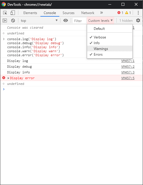 Alt Chrome : console example with log filter