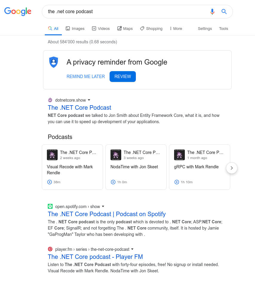 Results for a Google Search for The .NET Core Podcast - showing episode players in the search results