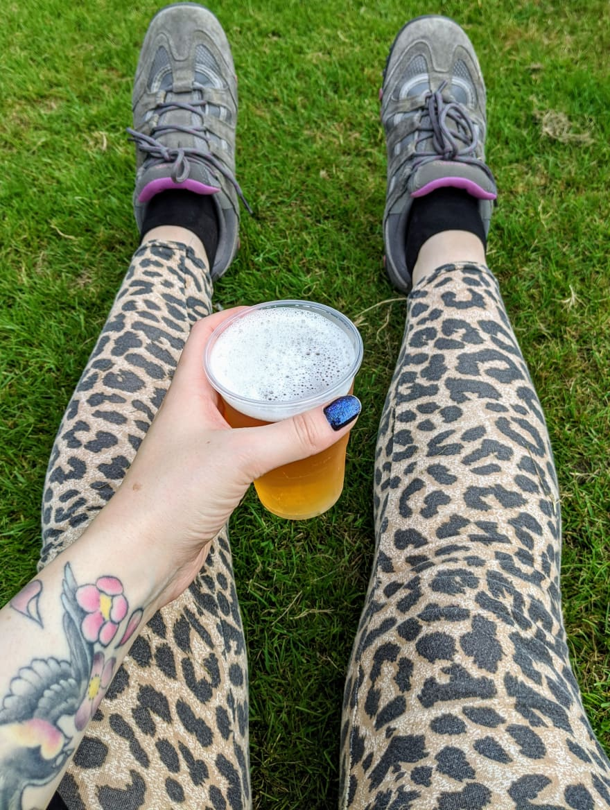 walking shoes and half a pint of beer