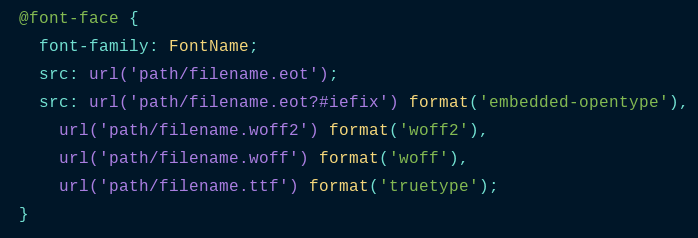 Different font types in css