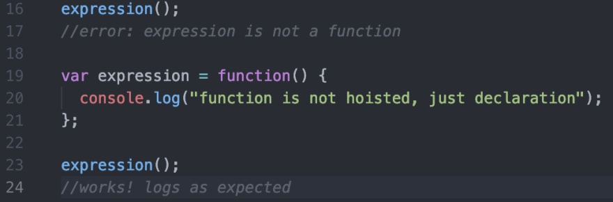 function expression hoisting example