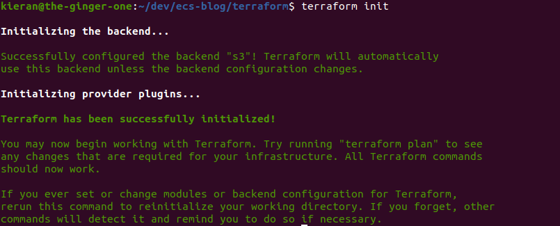 Terraform init output screenshot