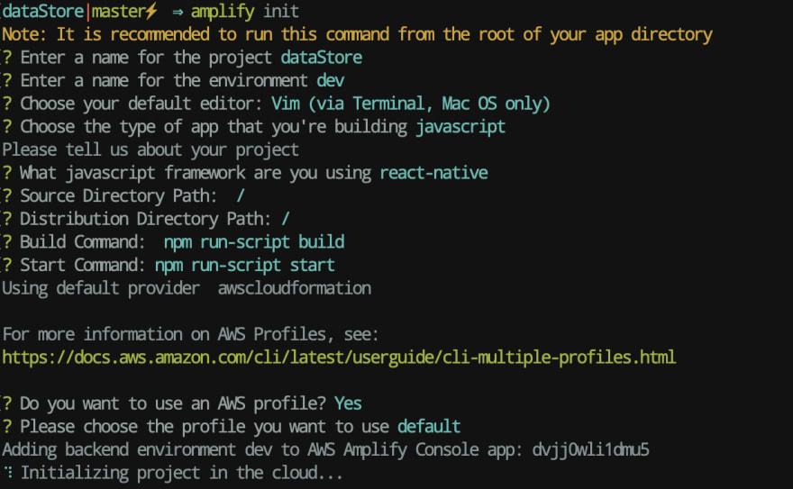 amplify init