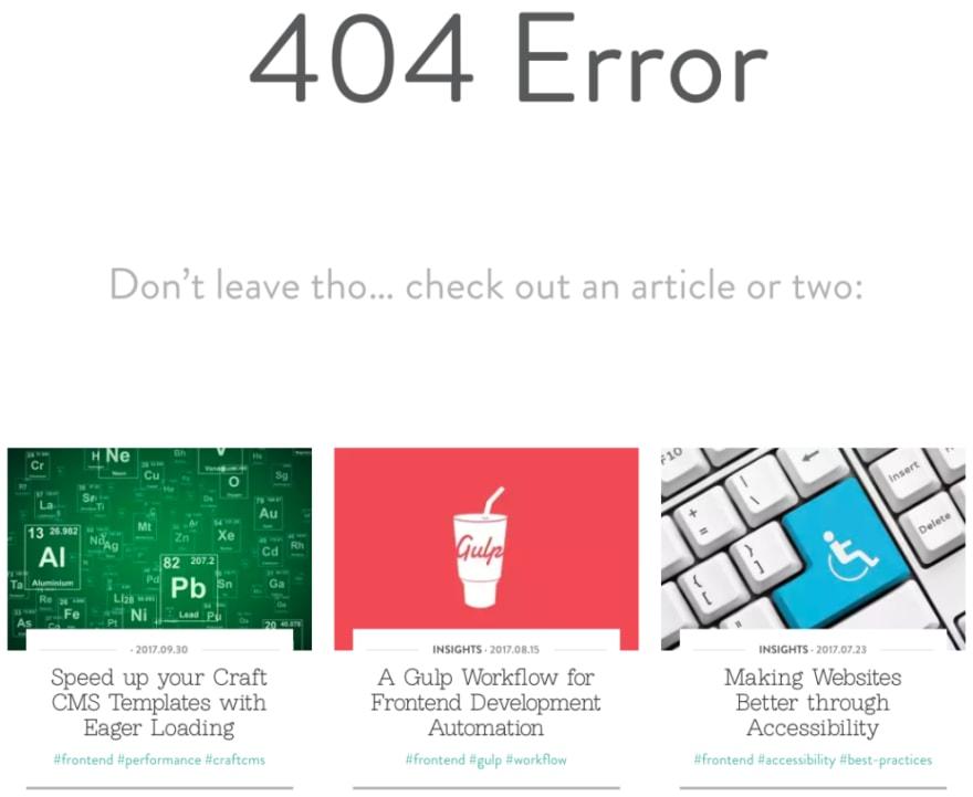 Nystudio107 404 Error