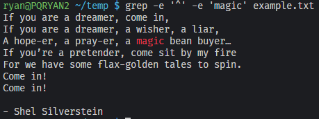 "Results showing the whole file but with the word ""magic"" highlighted in color."