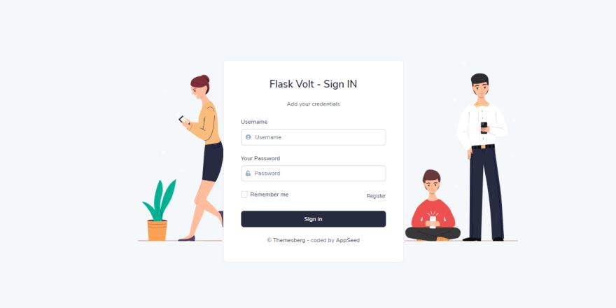 Volt Dashboard - Flask version, the login page.
