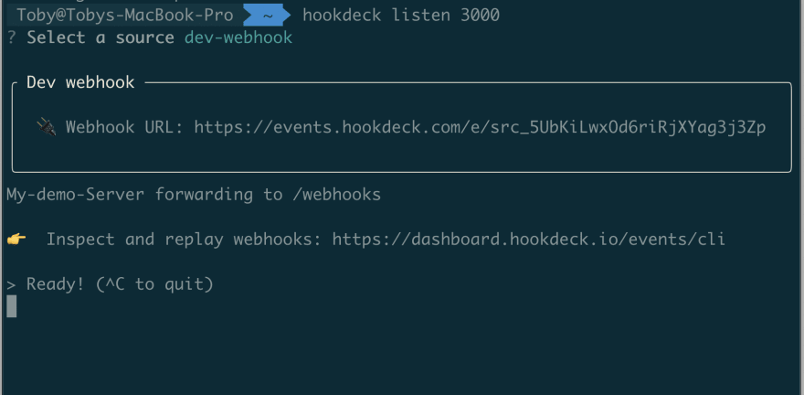 Image Showing the Hookdeck CLI in action