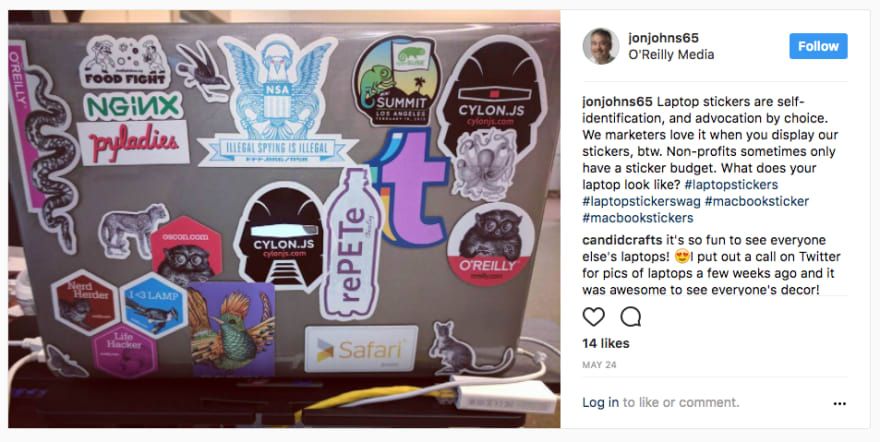 Jon Johns's instagram post about stickers