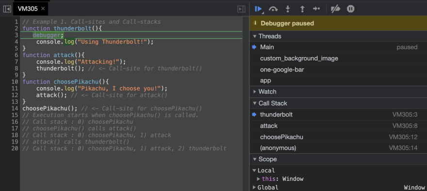 The **debugger** stops the execution at the custom breakpoint, and the function **call-stack** at that point can be viewed on the right side.