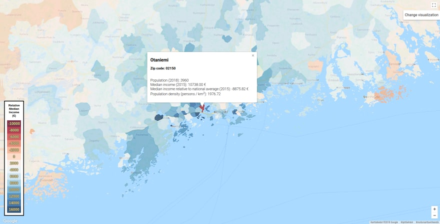 Showcase: Using Google Maps to visualize geographic data. Map data ©2018 Google.