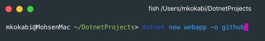 Creating a dotnet core web application