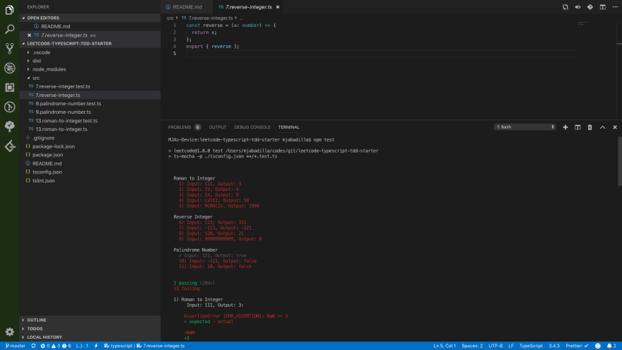 Solve LeetCode problems using Visual Studio Code, TypeScript