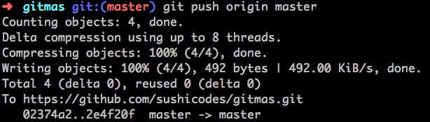 screenshot of git push