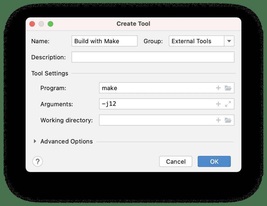 """Build with Make"" external tool"