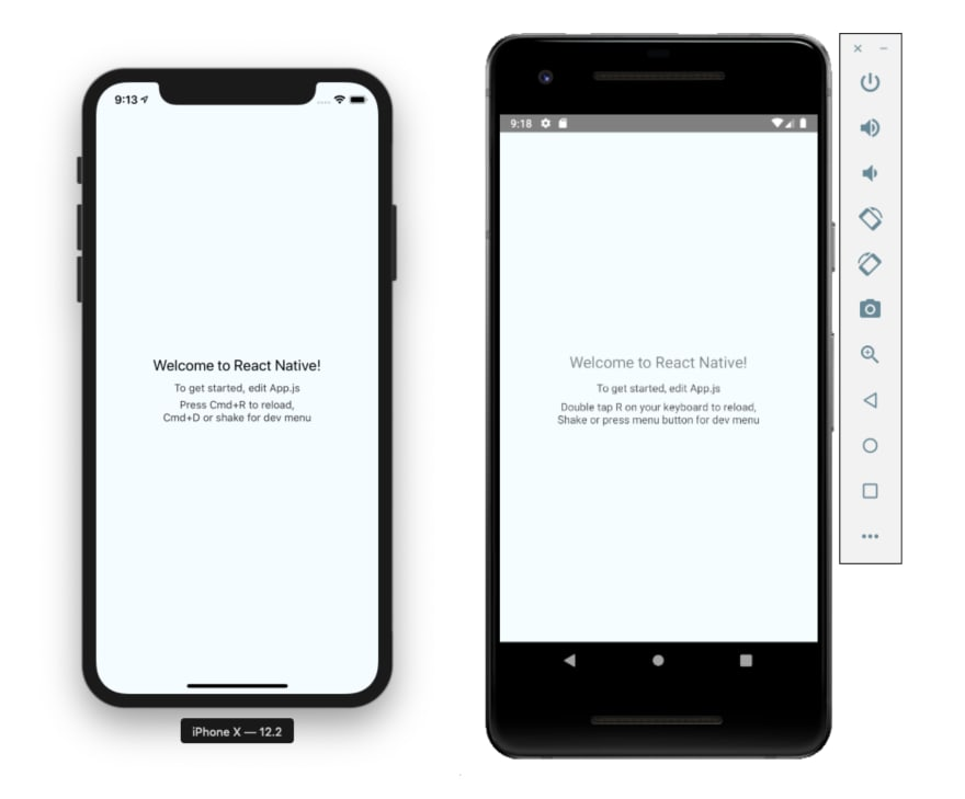 React Native Simulator Default Screens iOS Android