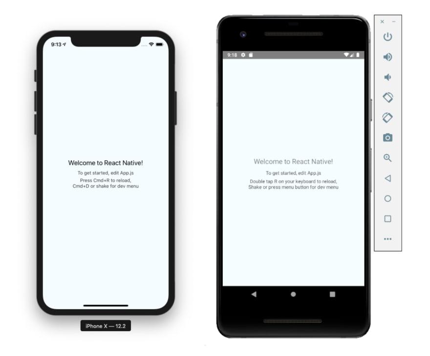 React Native Simulator Default Screens iOS Android