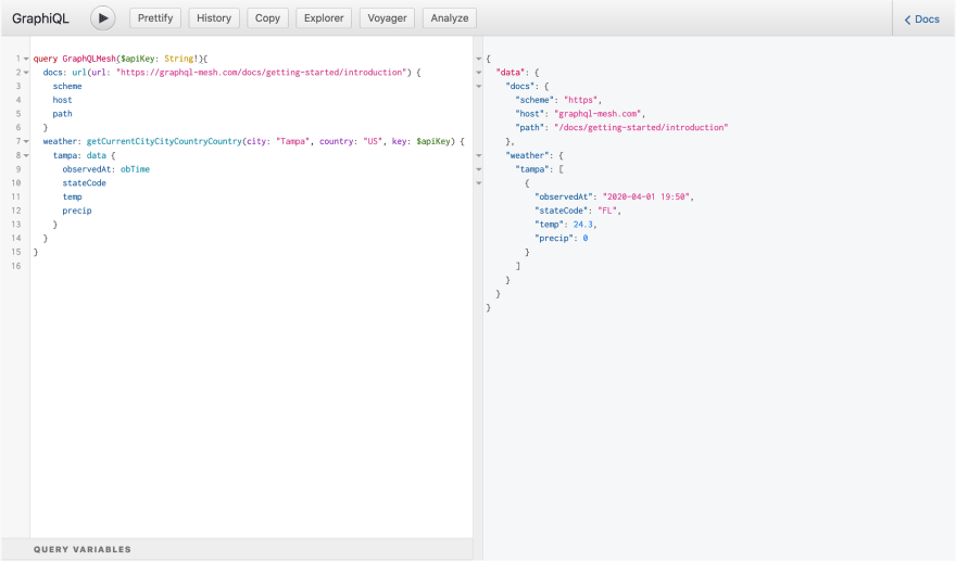 Screenshot of GraphiQL Explorer with validation query and response