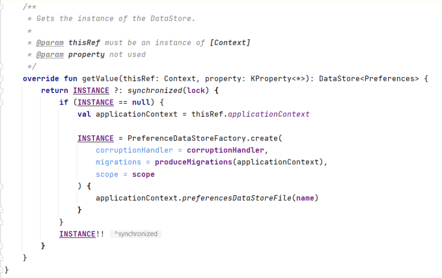 code snippet from PreferenceDataStoreSingletonDelegate