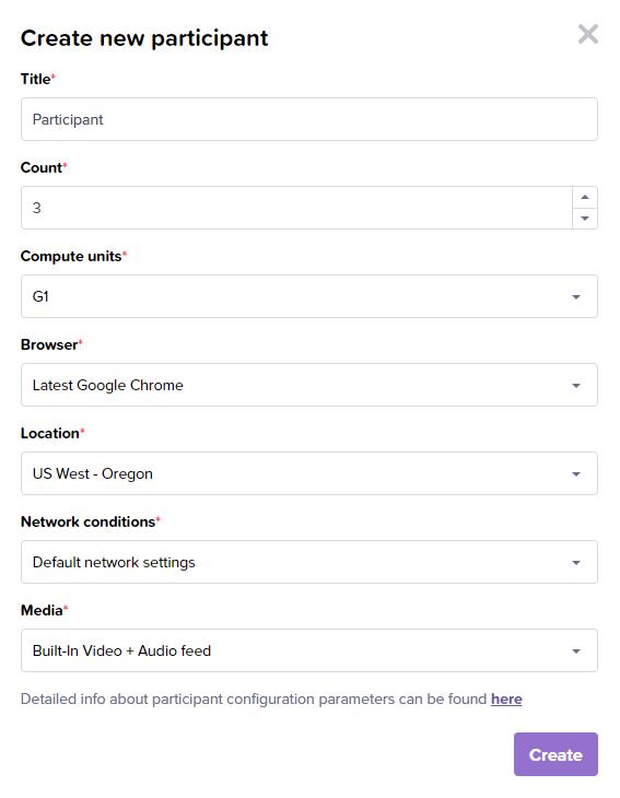 Test participant configuration