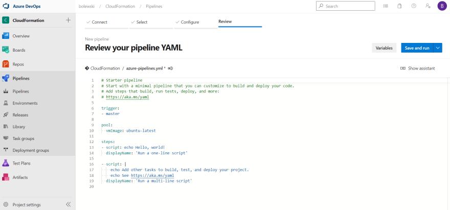 Azure DevOps Pipeline settings