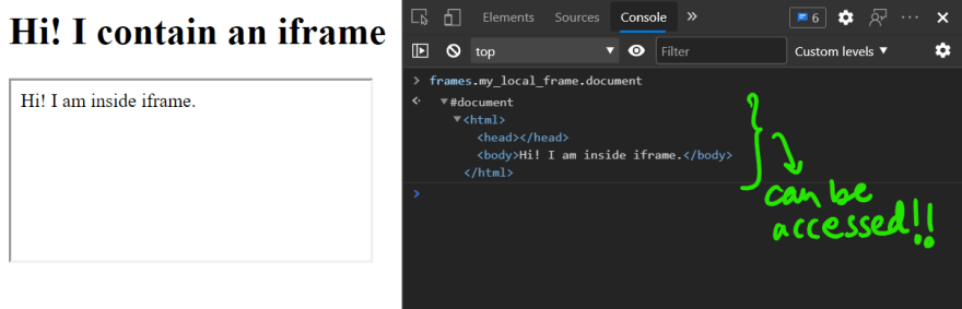can access iframe content with same origin
